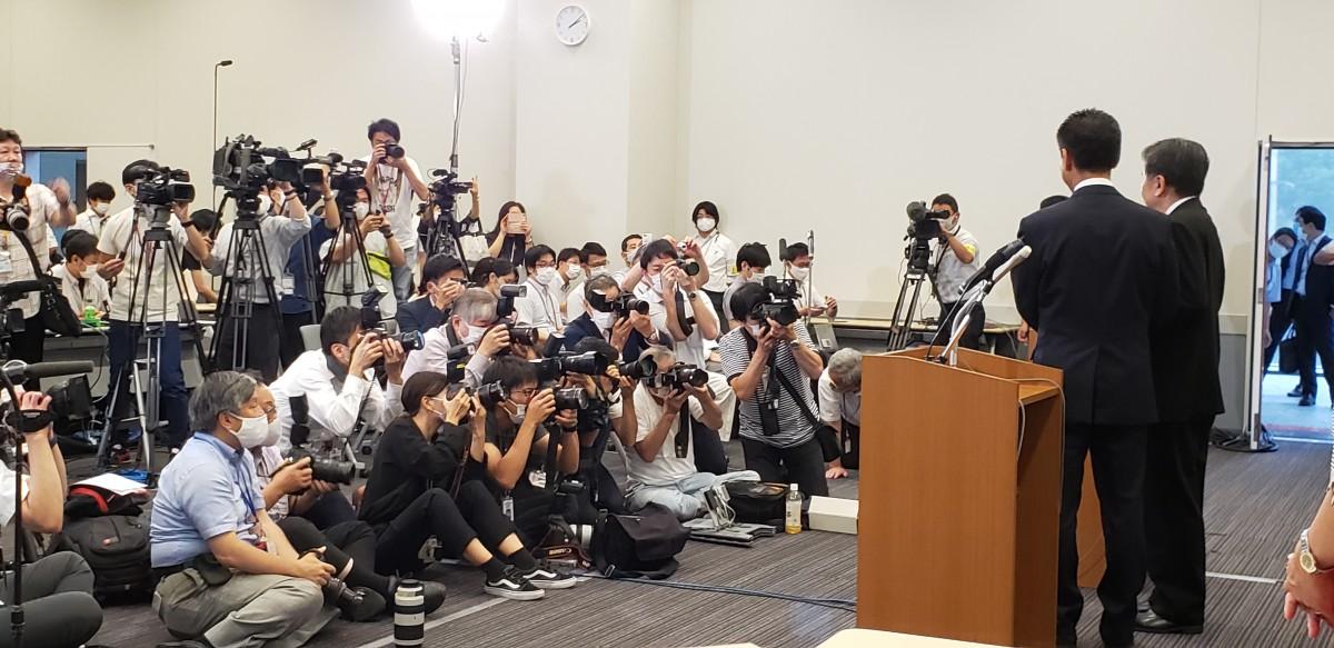 """9月7日""""合流新党""""代表選告示日 候補者記者会見"""